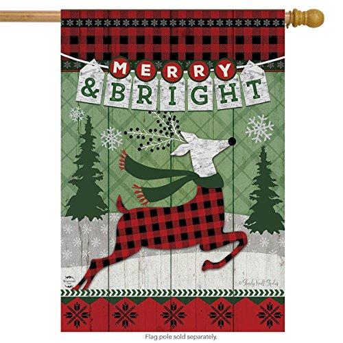 (Merry & Bright Reindeer Christmas House Flag Primitive Plaid 28