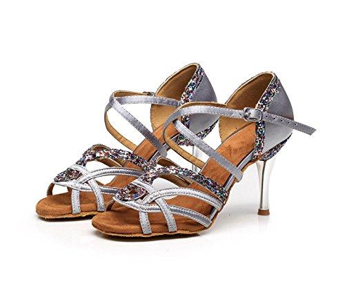 Salón 5cm Baile De Latino Jazz Satén Sandalias Zapatos 5 Floral Altos Mujer UK6 Modernos Baile Samba Tango Para heeled7 Silver Our41 Chacha JSHOE Zapatos EU40 De Tacones 0qBwXX
