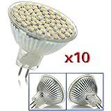 Sonline 10 X MR16 GU5.3 Dia 220V bulbo ahorro blanco 60 LED SMD 4W Energia Luz Lampara