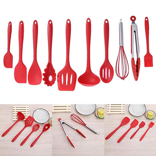 New-Sky-View - 10pcs/set Kitchen Utensils Set Silicone Cooking Utensil Non-stick Spatula Ladle Slotted Spoon Tongs Pasta Fork Cooking Tools