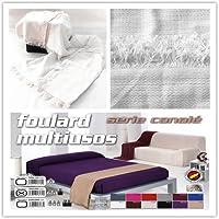 Colcha multiusos / Cubre sofás / Sobrecamas y colchas / Manta color liso para sofá 2 plazas o cama 90-110cm (180 x 260 cm, BLANCO)