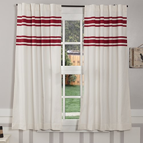 Silo Hill Red Stripe Panel Curtains, Set of 2, 63