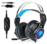 Gaming Headset for Xbox One, PS4, Surround Stereo Sound, 3.5mm Wired Over-Ear Headphone with Microphone and Volume Control for PC, Laptop, Ipad, Nintendo Switch (Blue)