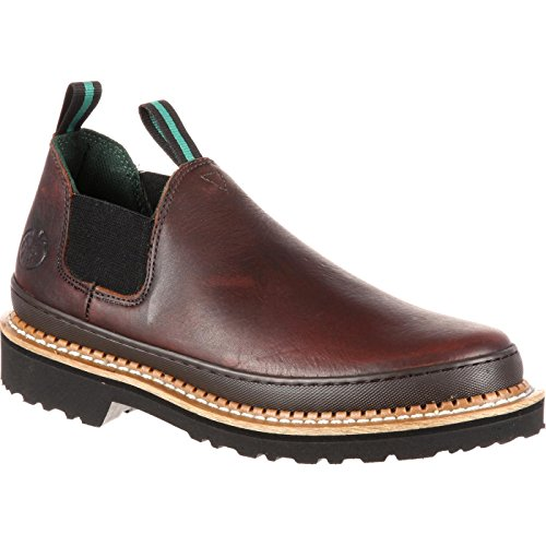 Georgia Giant Men's Romeo Slip-On Work Shoe,Brown,12 - Slip Work Mens On Leather Boots