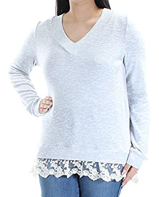 Miss Chievous Womens Juniors Marled Lace-Hem Pullover Top Gray L