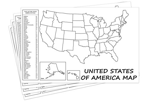United States Map - USA Poster, US Educational Map - With 2 Letter ...