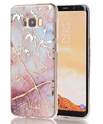 Galaxy S8 Case,Samsung Galaxy S8 Case,Spevert Marble Pattern Hybrid Hard Back Soft TPU Raised Edge Ultra-Thin Shock Absorption Scratch Proof Slim Protective Case for Samsung Galaxy S8 - - Case Protective Colorful
