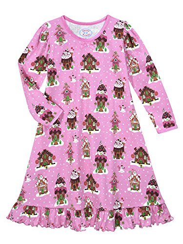 Sara's Prints Big Girls' Whirl and Twirl Long Sleeve Nightgown, Gingerbread Houses-Gin, (Gingerbread Print)