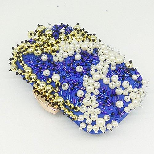 blue Pour Pour Perles Pochette à à à Dames Soirée Pour Main Sac Bandoulière Perlée Sac La Dîner En Sac à Soirée Banquet De De Chaîne Mode Sac La qxfEpI