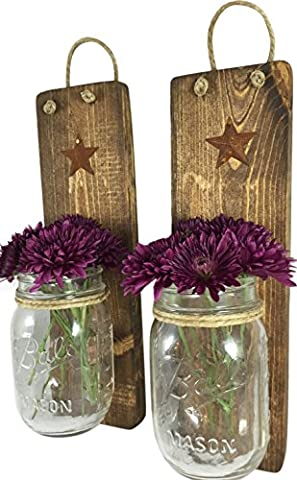 Heartful Home Decor, Ball Mason Jar Wall Sconces - Primitive Country - Set of 2 - Perfect for Candles, Flowers, or Anything You Like to Showcase, Top Rustic Housewarming Gift (His And Her Bathroom Decor)
