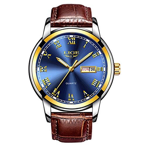 Luxury Brand Men's Quartz Watches Auto Date Wristwatches Fashion Casual Business Watch Leather Strap Waterproof Sports Watch -