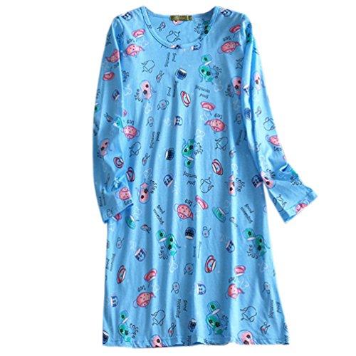 ENJOYNIGHT Women's Cotton Sleepwear Long Sleeves Nightgown Print Tee Sleep Dress (Medium, Blue)