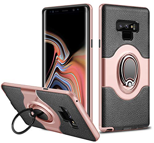 Galaxy Note 9 Case, ELOVEN Ultra Slim Fit Samsung Note 9 Case Ring Holder Shockproof Kickstand Cover Anti-Scratch Dual Layer Bumper Grip Protective Case with Ring for Samsung Galaxy Note 9 (Rose Gold)