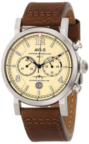 AVI-8-Mens-AV-4015-03-Hawker-Hurricane-Stainless-Steel-Watch-with-Leather-Band