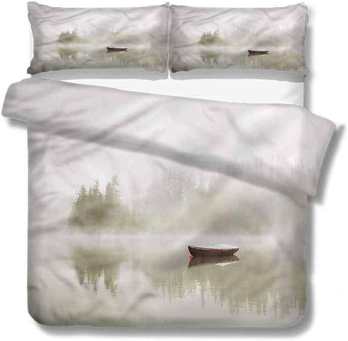 68 W x 85 L Home Duvet Cover Set,Box Stitched,Soft,Breathable,Hypoallergenic,Fade Resistant Print Quilt Cover Set White Queen Pattern Bedding Collection-Landscape Birds Mountains Flowers