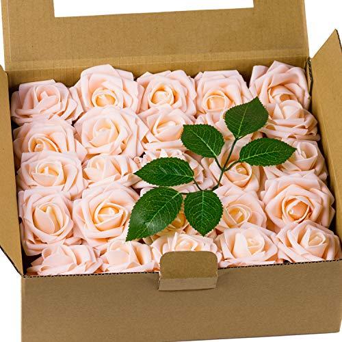 Loveinside 50 Piezas De Flores Artificiales Roese - Rosas Falsas De Aspecto Real, para Ramos De Bricolaje, Decoraciones para Fiestas En Bodas - Champagne