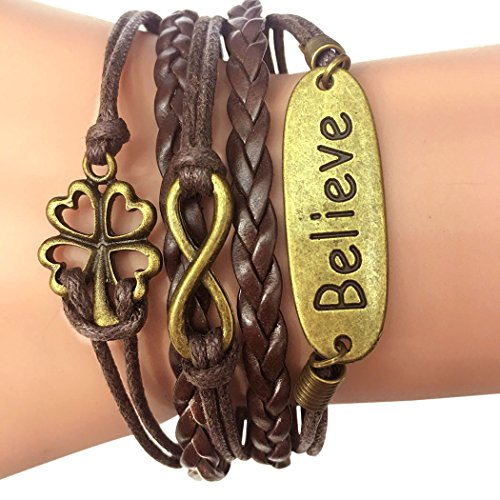Time Pawnshop Retro Braided Bronze Four Leaf Clover Believe 2 Hearts Multilayer Wrist Bracelet - Codex Costumes Xbox