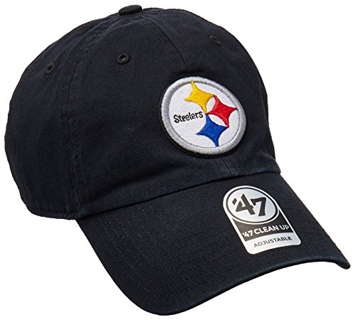 '47 NFL Pittsburgh Steelers Clean Up Adjustable Hat, Black, One Size Fits All Fits - Steelers Pennant Pittsburgh