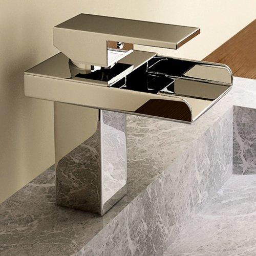 Lightinthebox Deck Mount Single Handle Widespread Waterfall Bathroom Sink Faucet Chrome Square Bathtub Mixer Taps Bath Tub Faucet Lavatory Single Hole Vessel Sink Unique Designer Ceramic Valve Included Plumbing Fixtures