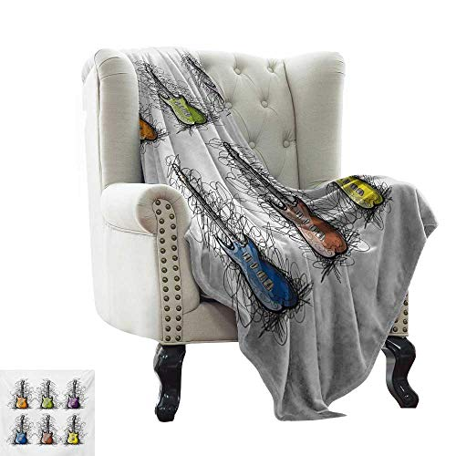 Digital Printing Blanket Music,Sketchy Lines Colored Design Guitar Insrument Collage Teens Rocker Song Lovers Image,Multicolor Comfortable Soft Material,give You Great Sleep 30