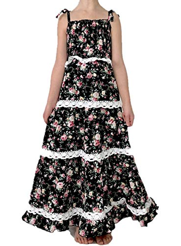 (Jennifer + June Black Floral Smocked Lace Tiered Maxi Dress with Tie Straps for Toddlers and Girls. (5T - 6T))
