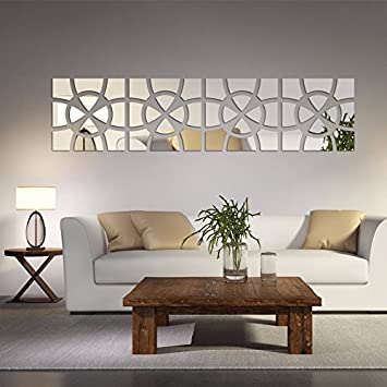 AlrensTM48pcs Set Geometric Art Mirror Effect 3D Wall Sticker TV Backdrop