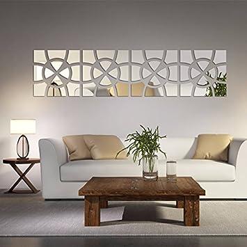 Alrens(TM)48pcs/Set Geometric Art Mirror Effect 3D Wall Sticker TV Backdrop Part 38