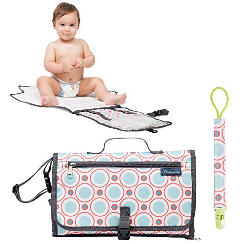 Portable Baby Changing Pad for Girls and Boys - Waterproof Diaper Bag Organizer for Travel, Road Trips or Flights - Perfect for Toddlers, Infants or Newborns – BONUS Memory Head Pillow + Pacifier Clip -