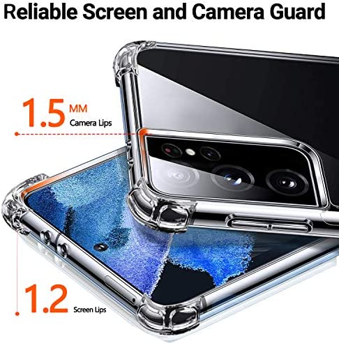 for Samsung Galaxy s21 Ultra Case with Ring Holder inch Crystal Clear Transparent Cover Built-in 360 Rotatable Kickstand Shock Shockproof Anti-Scratch Soft TPU (2020) -HD Clear