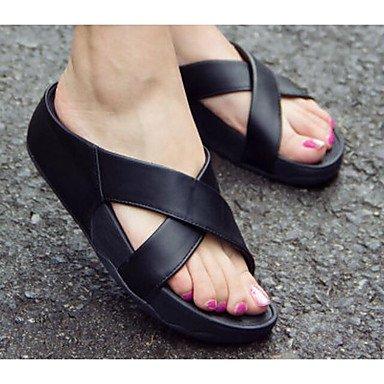 Sandalias UK3 Verano Mujeres Informal Oro RTRY CN34 Confort Plano Negro Pu Las EU35 Confort US5 De qaEnwUH