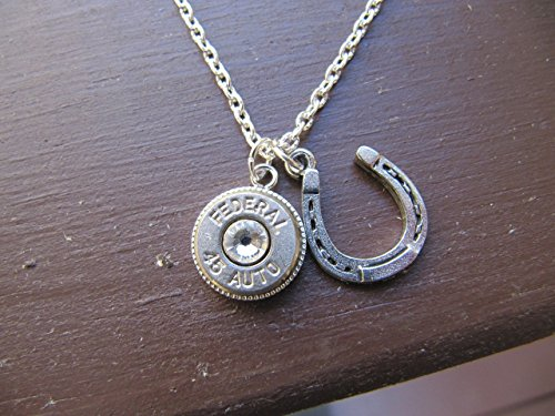 - Bullet Necklace with 45 bullet and horseshoe charm - Bullet Jewelry - Women's Necklace