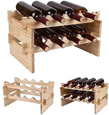 HJXSXHZ366 Estantería de Vino - bastidores de Vino de Madera Porta Botella apilable - es fácil de Montar estantes Separados 1-4 Cuatro Capas Estante de Vino pequeño (Size : 1tier)