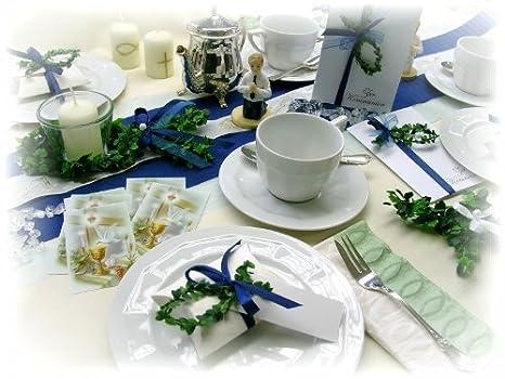 Komplett Set Für 25 Personen Dunkelblau Tischdeko Kommunion
