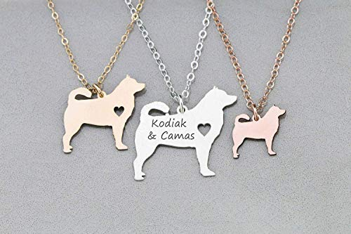 Siberian Husky Dog Necklace - IBD - Alaskan - Personalize Name Date - Pendant Size Options - 935 Sterling Silver 14K Rose Gold Filled Charm ()