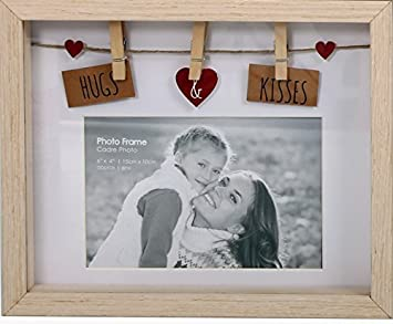 Bilderrahmen Wäscheleine amazon de hugs kisses design natur holz box bilderrahmen 6 x 4