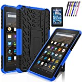Windrew Hybrid Heavy Duty Armor Protection Cover [Anti Slip] [Built-In Kickstand] Skin Case For Amazon Fire 7 5th Generation 2015 Release Tablet + Screen Protector and Stylus Pen (Black/Blue)