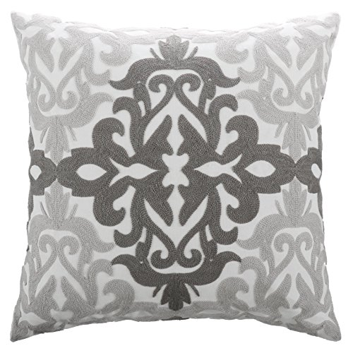 "Euro Decorative Throw Pillow Cover - PONY DANCE Cotton Floral Embroidered Pillowcase Square Damask Sofa Cushion Cover for Chair Including Hidden Zipper Design,18"" x 18""(45 x 45 cm),Grey Floral,1 Pack"