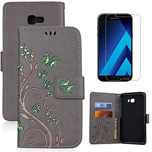for Samsung Galaxy A5 2017 A520 Wallet Case and Screen Protector,OYIME [Butterfly Flower Embossed] Pattern Design Leather Holder Full Body Protection Bumper Kickstand Card Slot Function Magnetic Closure Flip Cover with Wrist Lanyard - Gray