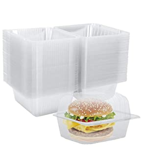 Clear Plastic Hinged Food Container 100 PCS, 5.5