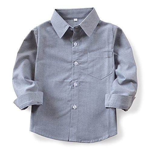 OCHENTA Boys' Long Sleeve Button Down Oxford Shirt, Little Big Kids Dress Tops N002 Grey Tag 120CM - 5Y (5 Shirts Size Western Boys)