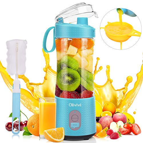 Portable Blender, Olivivi 2020 Multifunctional Personal Blender Mini Smoothie Blender 6 Powerful Blades, 4000mAh Rechargeable USB Juicer Cup Bottle with strainer Cleaning Brush for Travel BPA Free Blue.