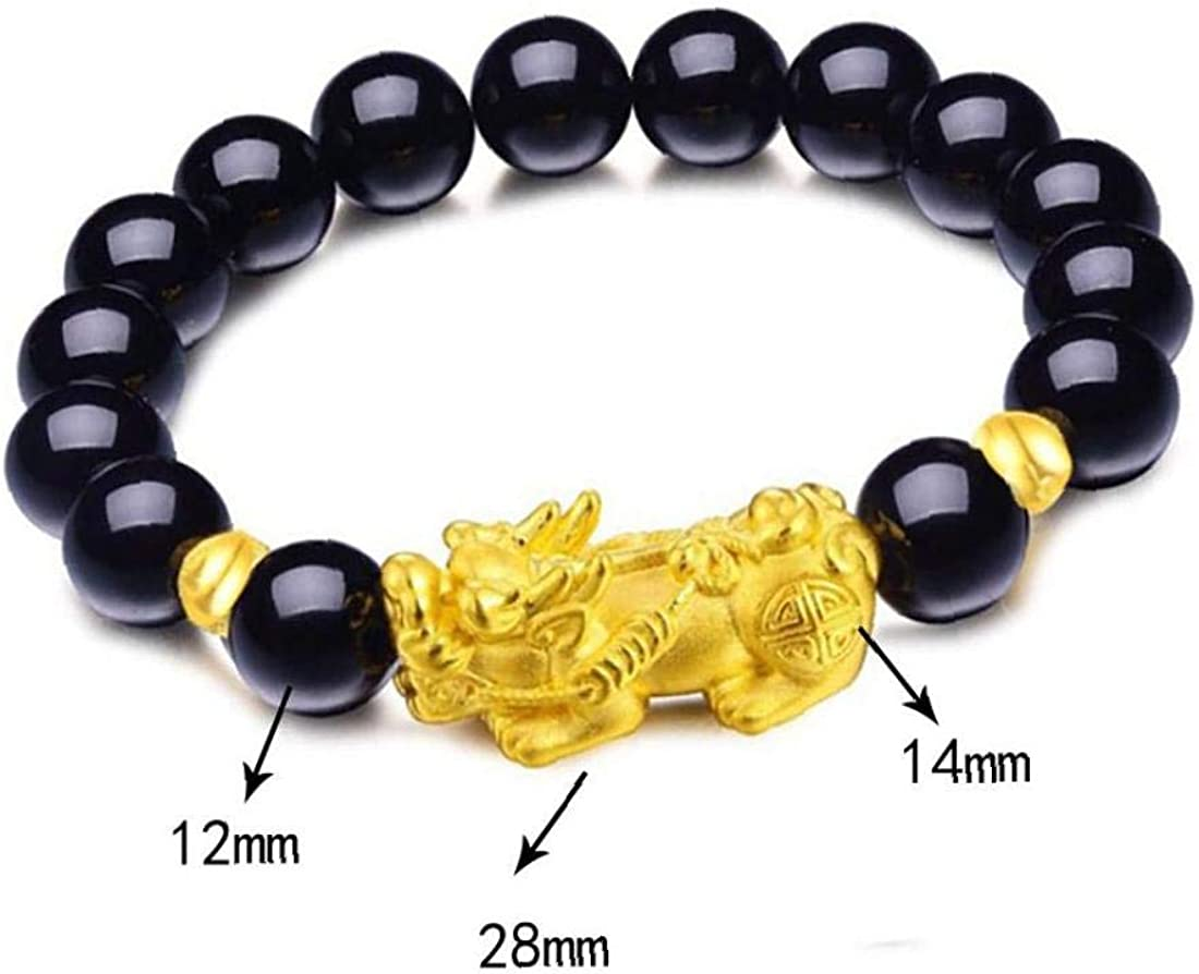 Natural Stone Black Obsidian Pixiu Bracelet With Tiger Eye Double Pixiu Lucky Brave Troops Charms Jewelry for Female Men Obsidian money beads