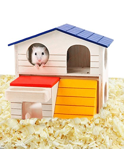loveone(TM) Hamsters Hideout Home Gerbils House Deluxe Wooden Hut Play Chews Toys for Small Pet Animal/ Dwarf Mice/ Little Hamster/ Mini Geckos