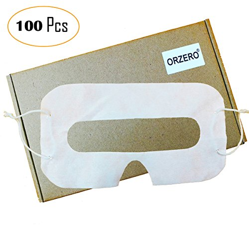 [100 Pack] Orzero VR Disposable Sanitary White Eye Mask for Virtual Reality Headset for Gear VR Oculus Rift HTC Vive PlayStation VR