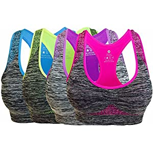 Vermilion Bird Women's Seamless Sports Bra High Impact Pocket Yoga Bras L 4 Pack