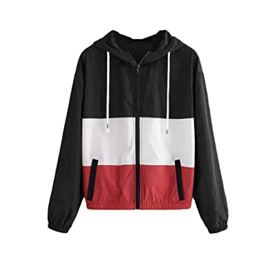 Amazon.com: POTO Windbreakers, Womens Color Block Hooded ...