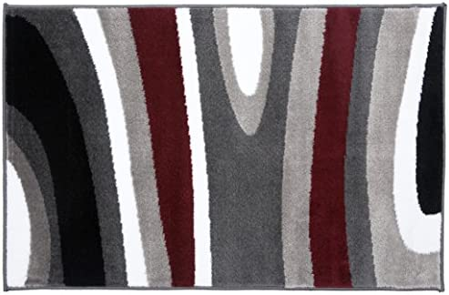 Abstract Contemporary Modern Area Rug 2 x 3 Gray Red