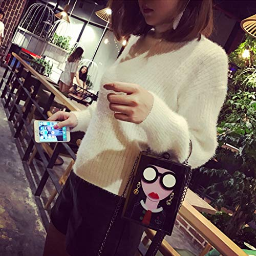 Women Evening Girls Party Bag Crossbody Purse Vintage Clutch Chain Fashion Glasses Black JESSIEKERVIN Acrylic dWqTAFw6d