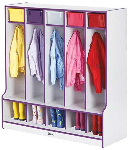 (Rainbow Accents 0468JCWW114 5 Section Coat Locker with Step, Orange)