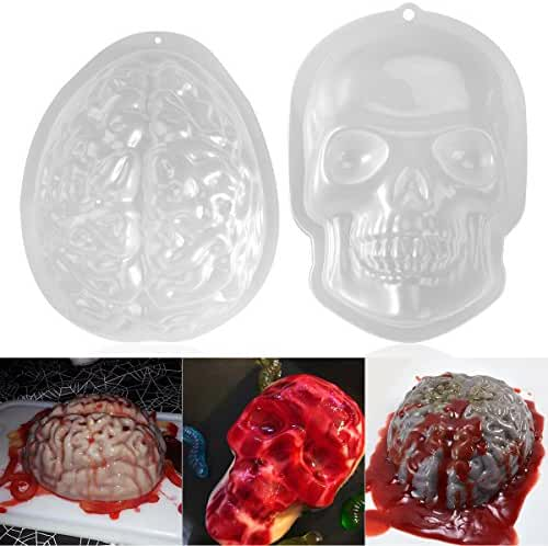 PBPBOX 2 Pack Halloween Brain Gelatin Mold Plastic Zombie Brain Jello Mold for Halloween Party